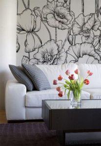 mural hitam putih dengan motif bunga 2