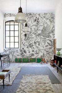 mural hitam putih dengan motif bunga 3