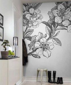mural hitam putih dengan motif bunga 5