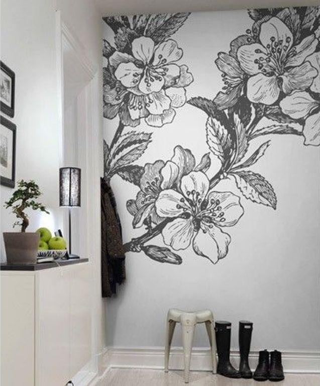 Nail Art Hitam Putih: Mural Hitam Putih Dengan Motif Bunga 5