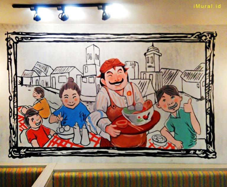Gambar Mural di Bakso Lapangan Tembak Senayan Cirebon