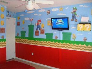 dekorasi dinding bertema super mario