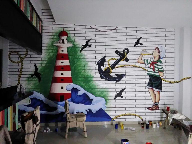 Jasa Mural Bitung, Mural Berkonsep Pelaut Dengan Quote Yang Inspiratif