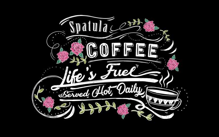 ilustrasi kafe mural tipografi hitam putih spatula