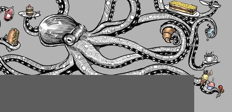 ilustrasi cafe almond tree pakuwon octopus