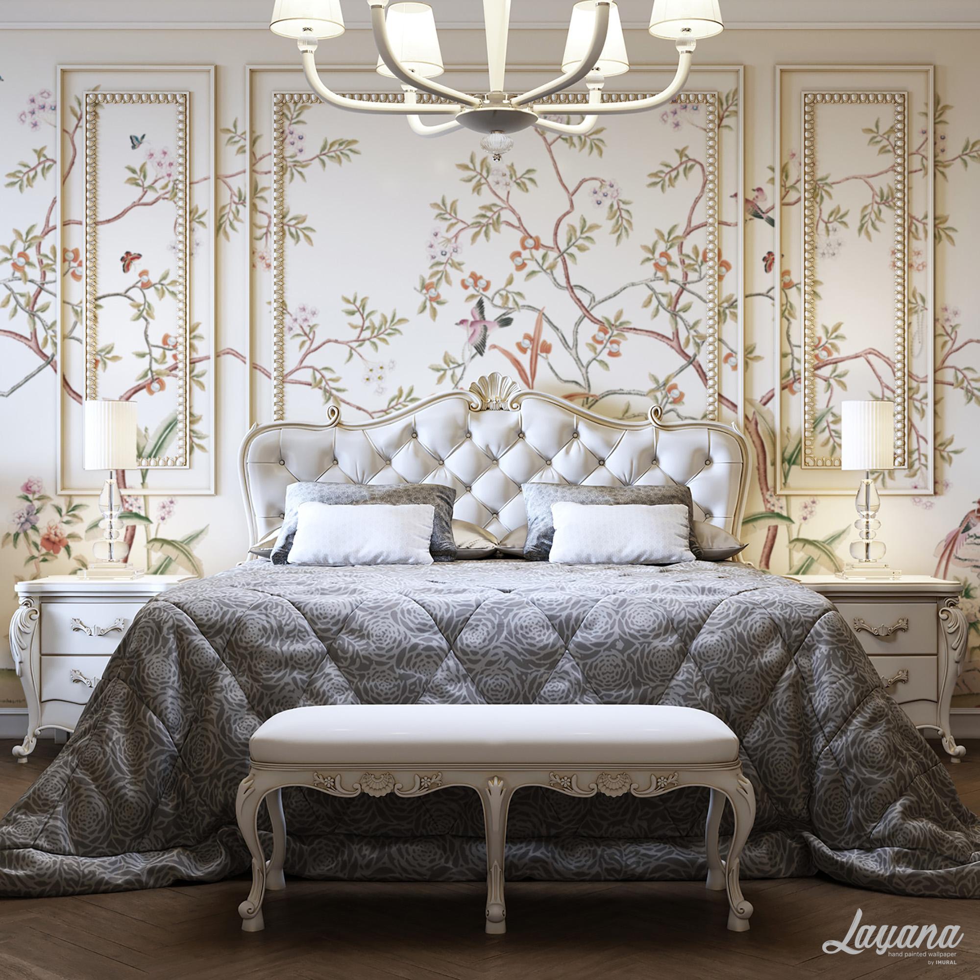 wallpaper dinding kamar tidur elegan
