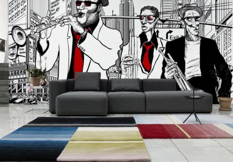 Black and White Mural for Living Room