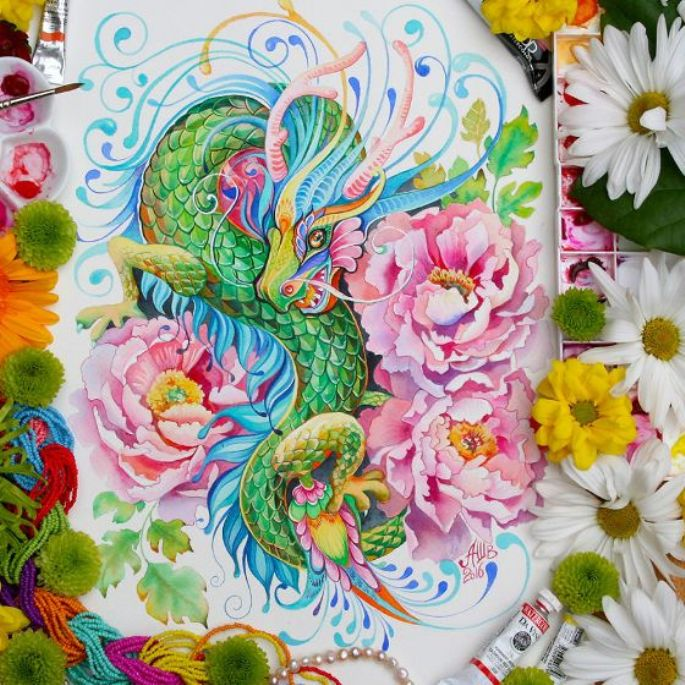 12 Animals of Chinese Lunar Calendar, Created by Anna Bucciarelli Using Watercolour