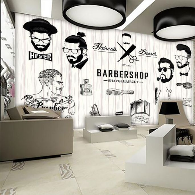 Salon And Barbershop Decoration With Mural And Sticker Cool