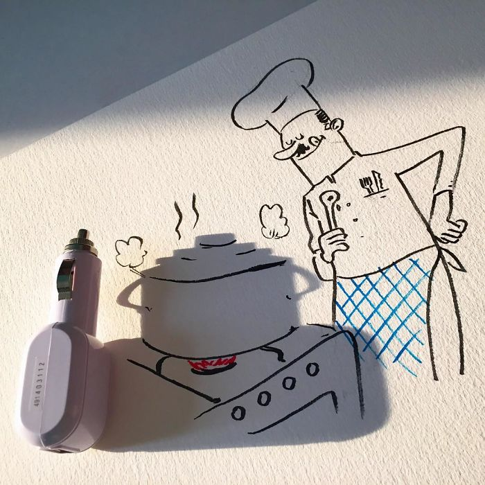 Vincent Bal Creates Amazing Doodle Using the Shadow of Things Around Him