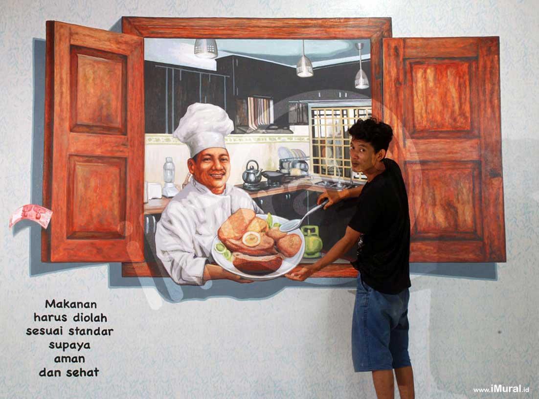 lukisan dinding chef di taman pintar jogja