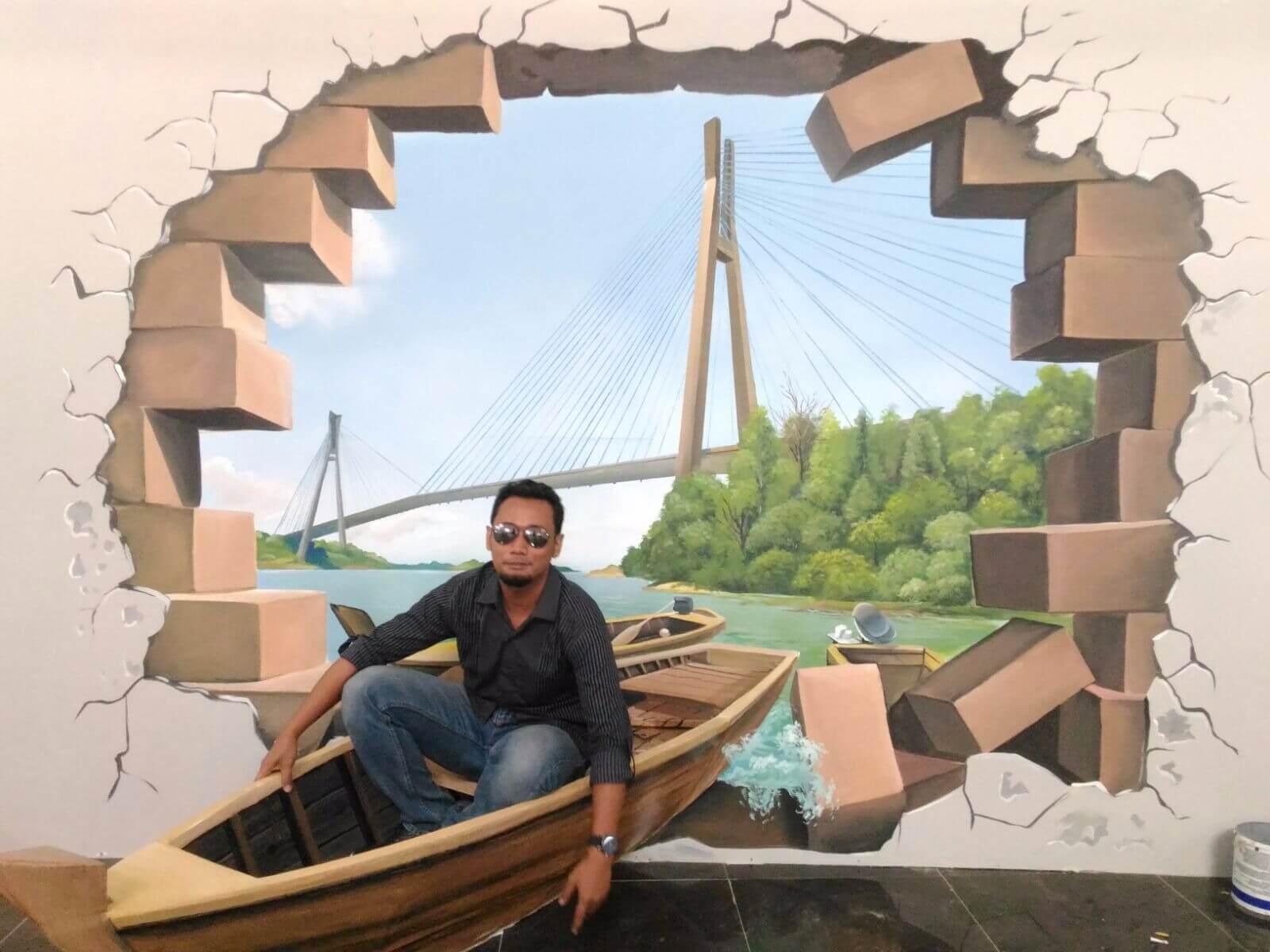 Lukisan 3D Perahu