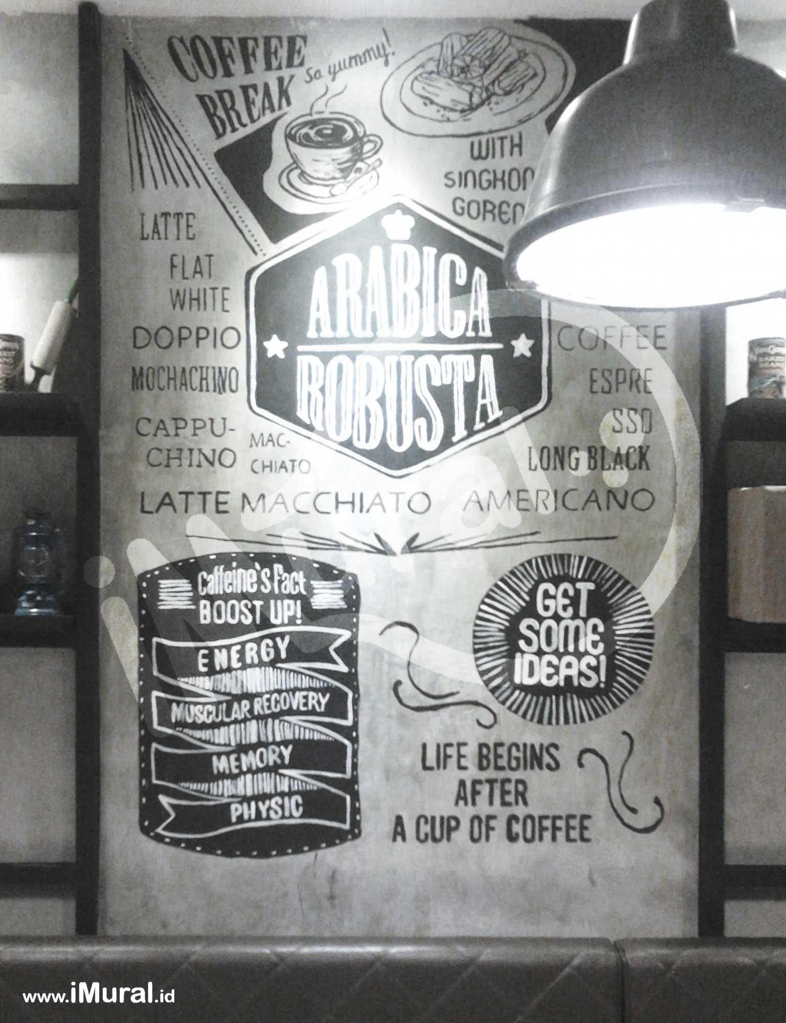 Mokka Coffee Karawaci, Ngopi Santai dengan Dekorasi Interior Mural Hitam Putih