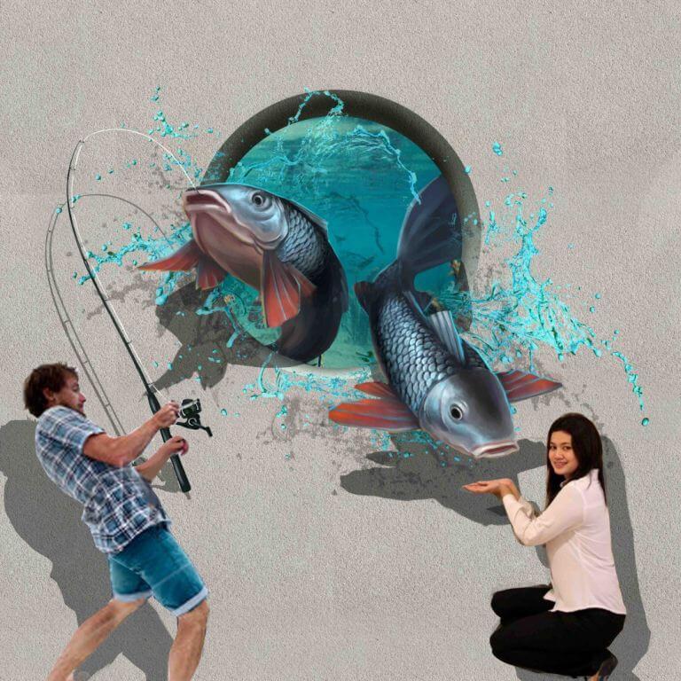 3D Trick Art Memancing Ikan