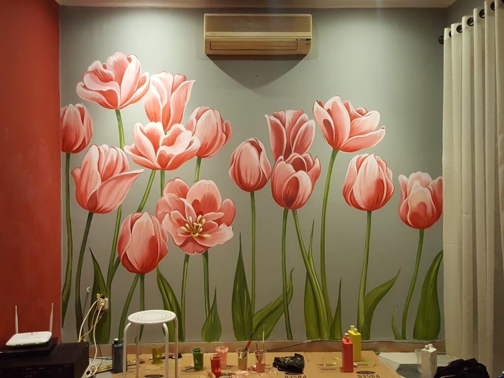 proses pembuatan mural bunga